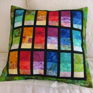 Stacked Rainbow Batik Pillow