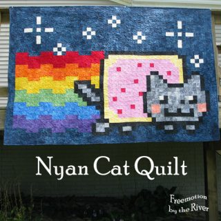 Nyan Cat Quilt in batiks