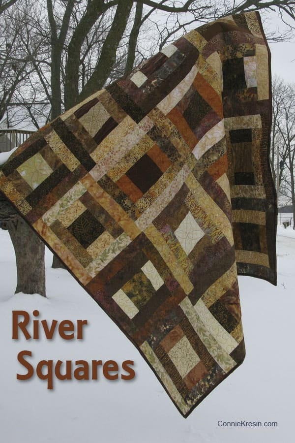 River Squares Quilt Pattern Brown Pin