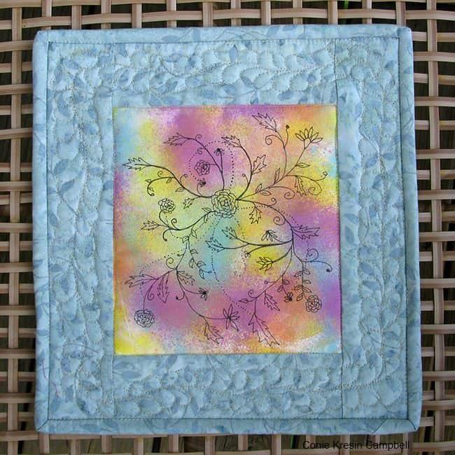 DIY Painted Fabric Art Mini Quilt