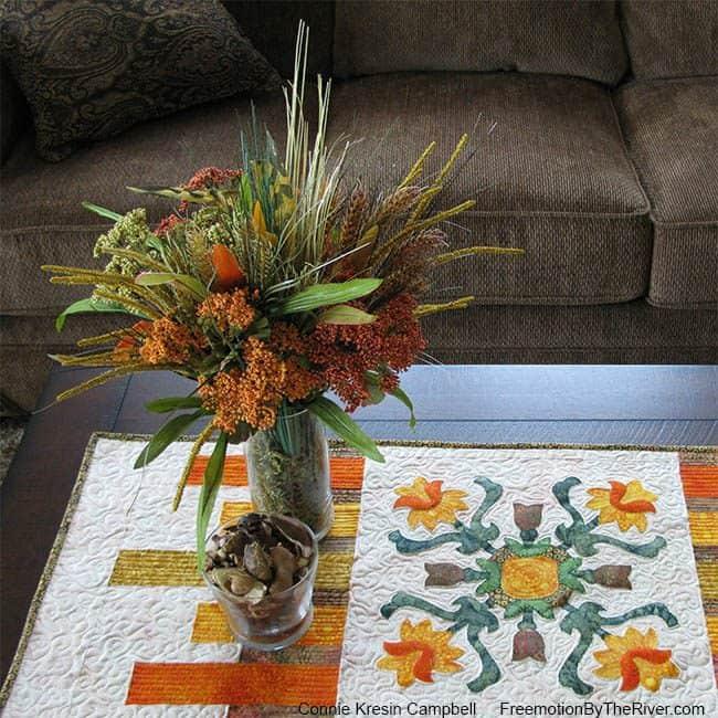 Folk Art Quilted Traditions Batik Table Runner