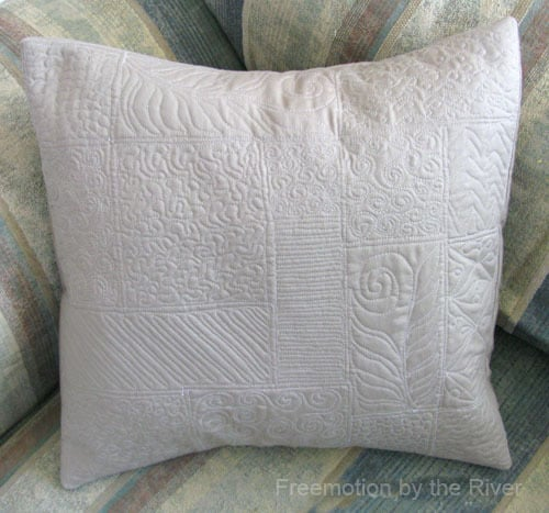 Free motion quilting sampler pillow