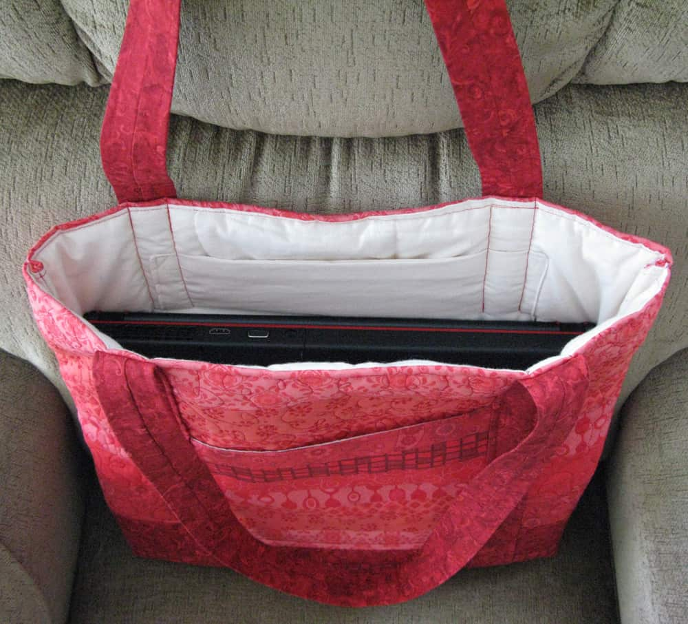 Strip Quilted Laptop Bag