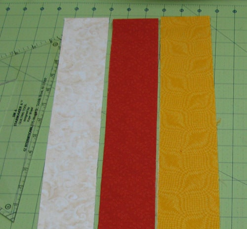 Cutting the fabric for the blocks
