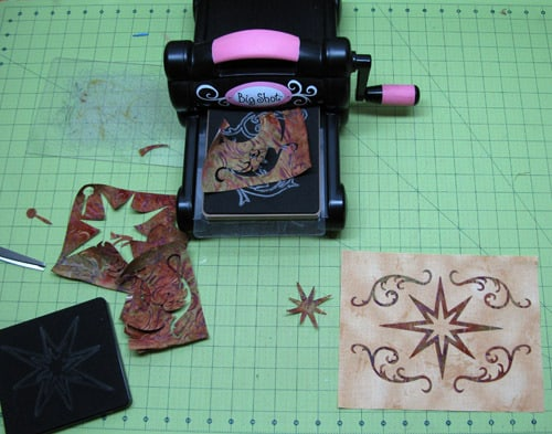 Sizzix and batik appliqued mug rug