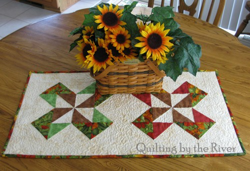Sunflower Table Runner on table - conniekresin.com