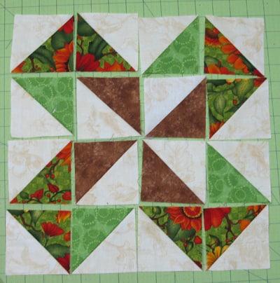 Sunflower Table Runner block before sewing