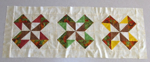 Sunflower Table Runner before quilting