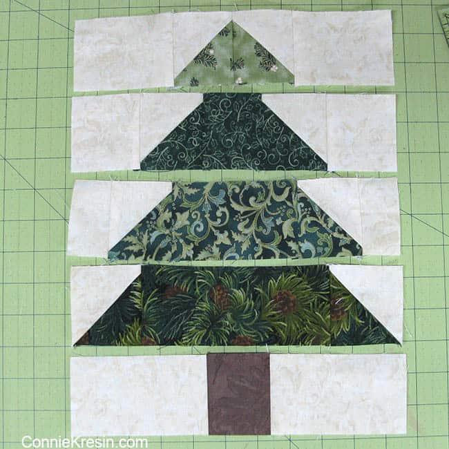 Christmas Tree Tablerunner tutorial block rows