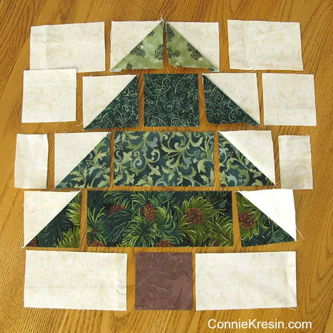 Christmas Trees Tablerunner tutorial pieces