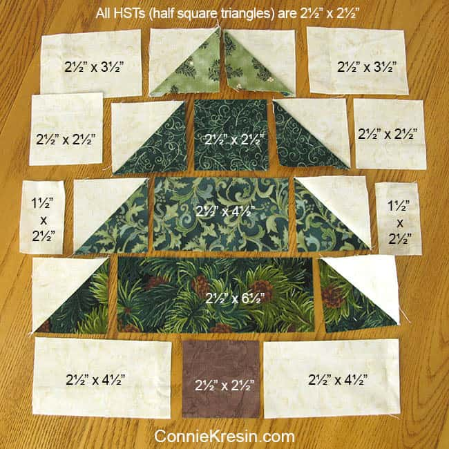 Christmas Trees Tablerunner tutorial measurements of the blocks