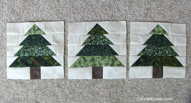 Christmas Tree Tablerunner tutorial 3 blocks