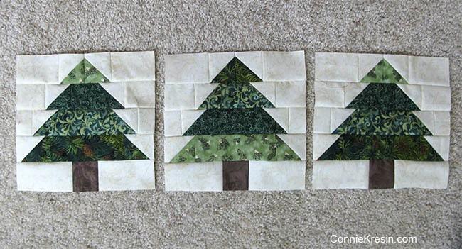 Christmas Tree Tablerunner tutorial 3 blocks