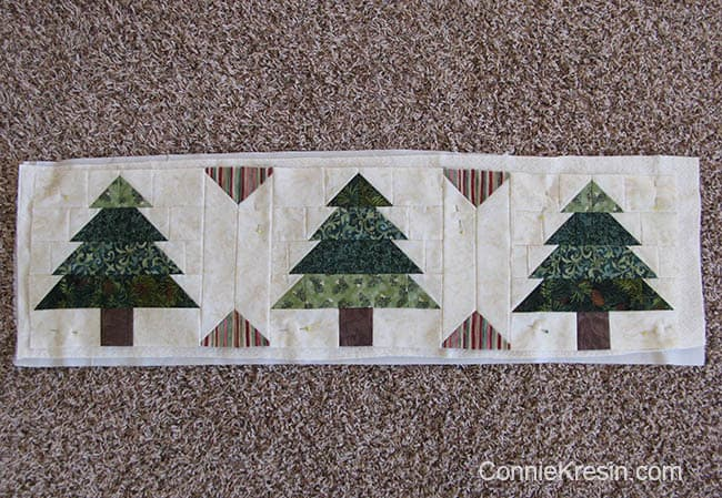 Christmas Tree Tablerunner tutorial add batting