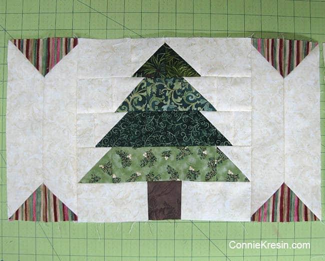 Christmas Tree Tablerunner tutorial block sashing