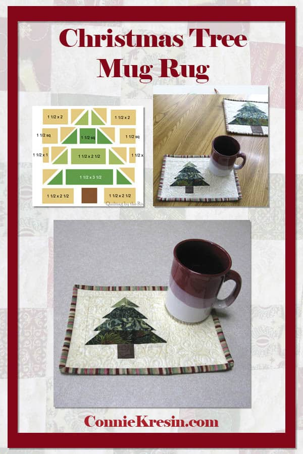Christmas Tree mug rug tutorial is fast and easy to make