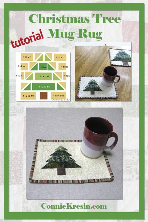 Try this fun quilt tutorial! Christmas Tree mug rug tutorial is fast and easy to make