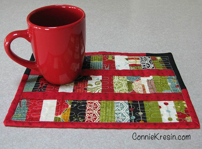 Scrappy Christmas Mug Rug tutorial with coffee cup
