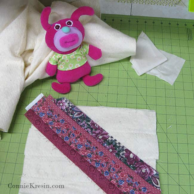 Sleeping bag being strip pieced