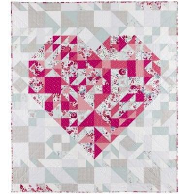 Free Pieced Heart Quilt pattern