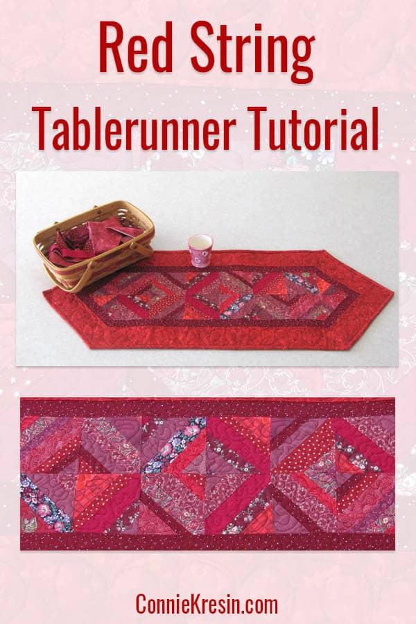 Red String table runner tutorial from scraps of fabric strips