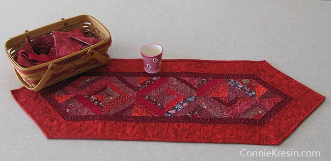 Red String table runner tutorial quilted and on kitchen island