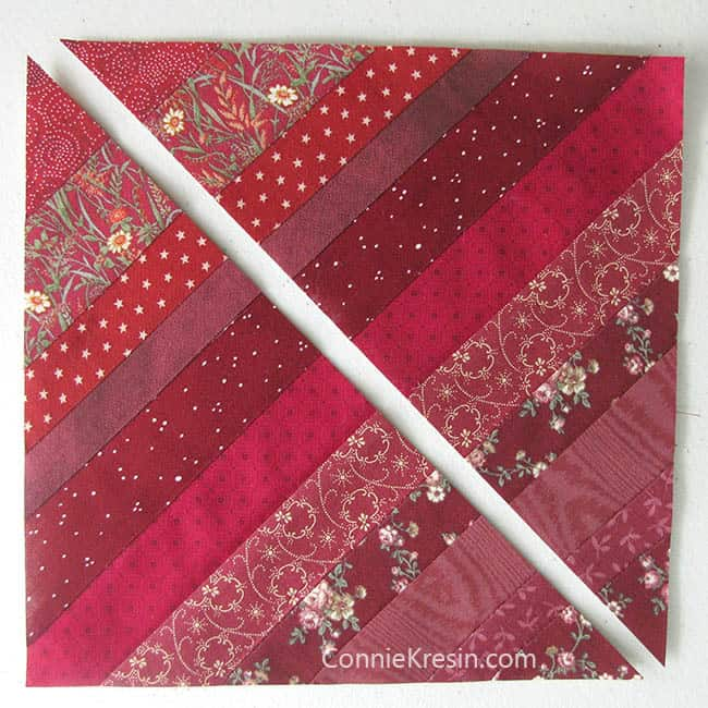Red String Table runner tutorial cut blocks diagonally