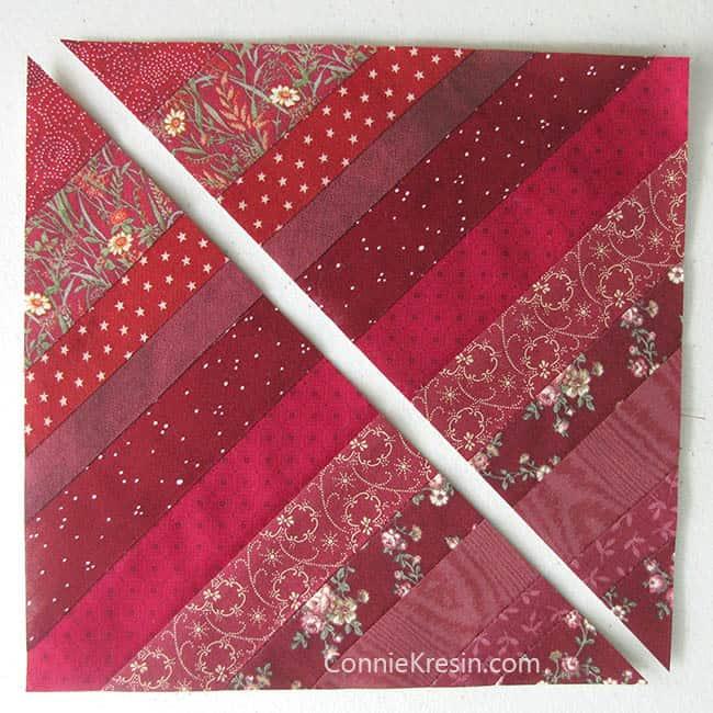 Red String Table runner tutorial cut blocks diagonally