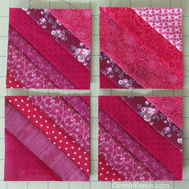 Red String table runner tutorial block trimmed and cut into 4 pieces