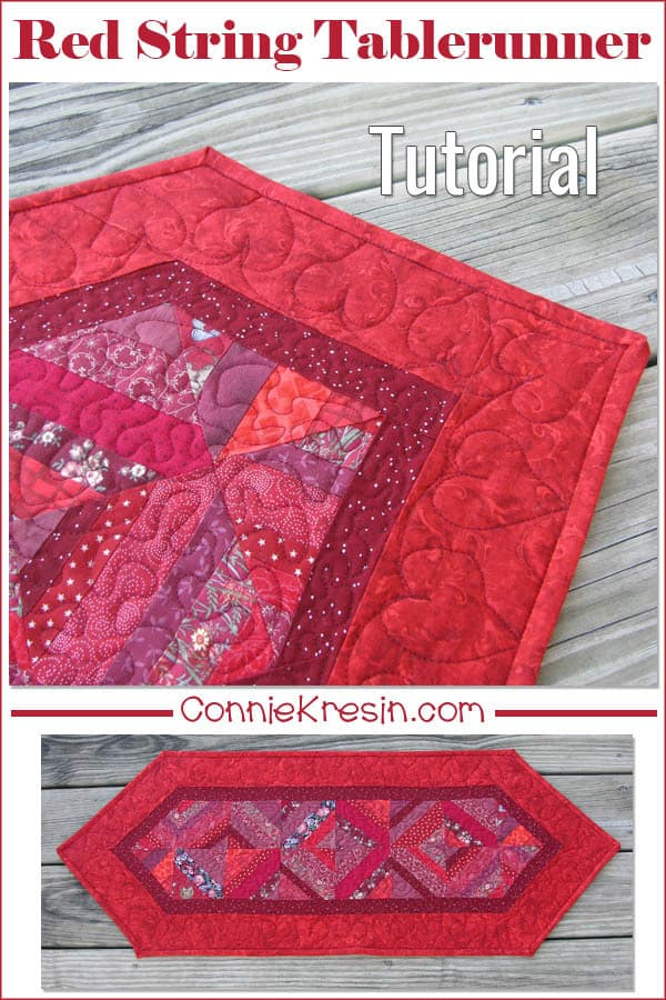 Red String table runner tutorial from scraps