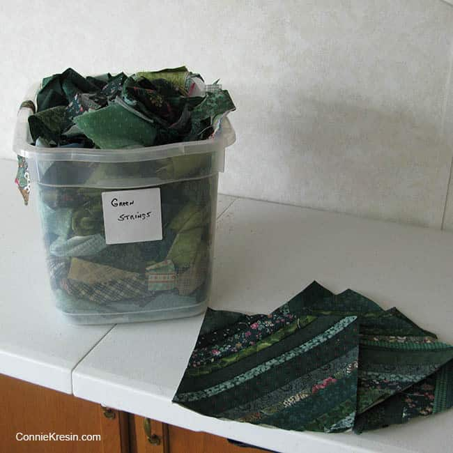 String Bean Table Runner Tutorial green fabric stash