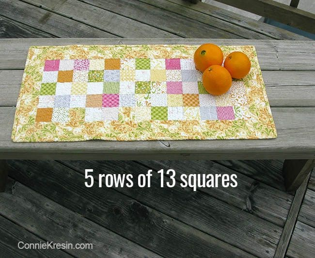 Orange Kissed Tablerunners tutorial fabric piecing the table runners 5 rows of 13 squares