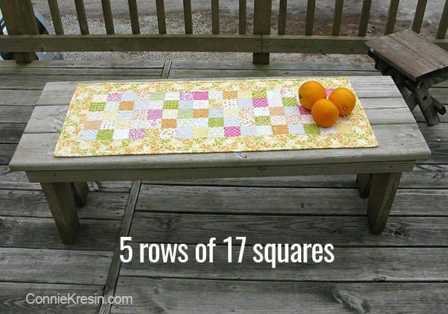 Orange Kissed Tablerunners tutorial fabric piecing the table runners 5 rows of 17 squares