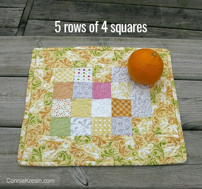 Orange Kissed Tablerunners tutorial fabric piecing the table runners 5 rows of 4 squares