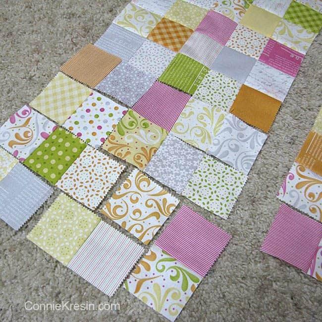 Orange Kissed Tablerunners tutorial fabric cut into smaller squares