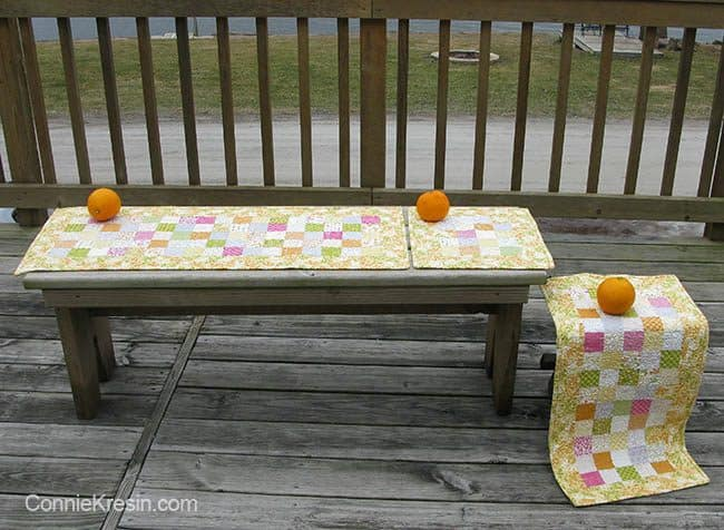Orange Kissed Table runners tutorial for 3 different sizes that is easy to make