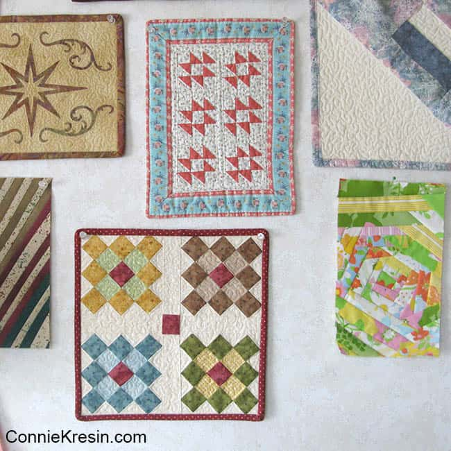 Easy to make Granny Square on wall in quilt room