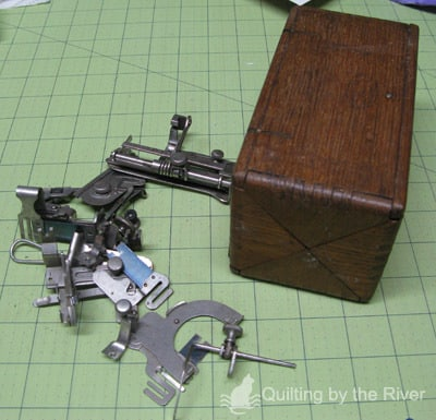 Antique sewing machine attachments