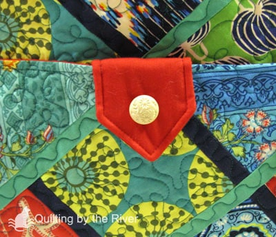 antique buttons on tote pockets