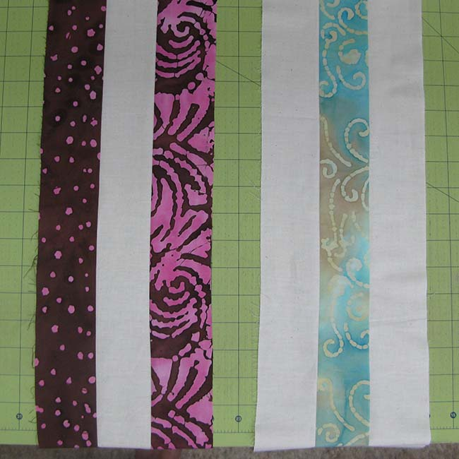 Petunia Strings strips sewn together