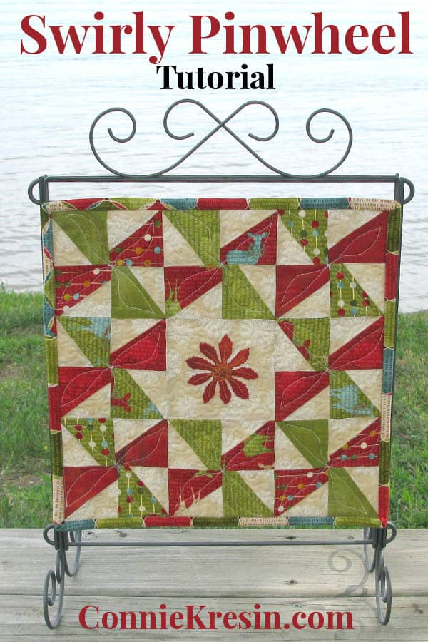 Easy Swirly Pinwheel mini quilt tutorial