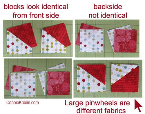 Swirly pinwheel quilt tutorial block sections