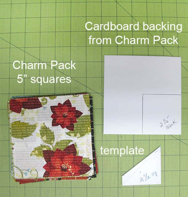 Swirly pinwheel quilt tutorial directions to cut the template from charm square cardboard