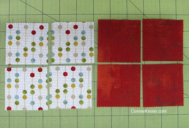 Swirly pinwheel quilt tutorial directions to cut the template from charm square cardboard cutting squares of fabric