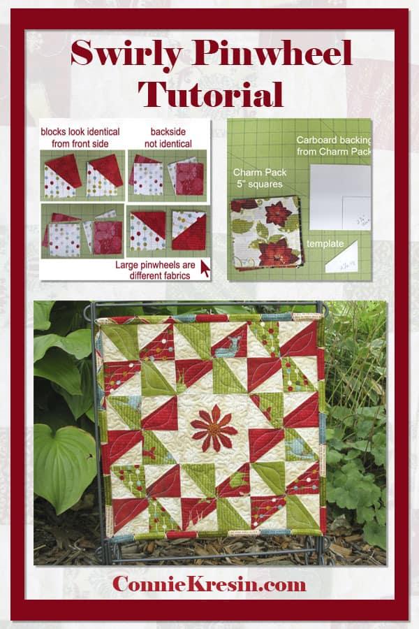 Tutorial for the Swirly Pinwheel quilt block