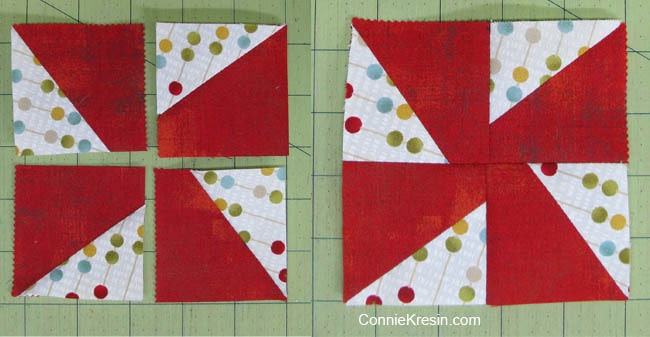Swirly pinwheel quilt tutorial finished block