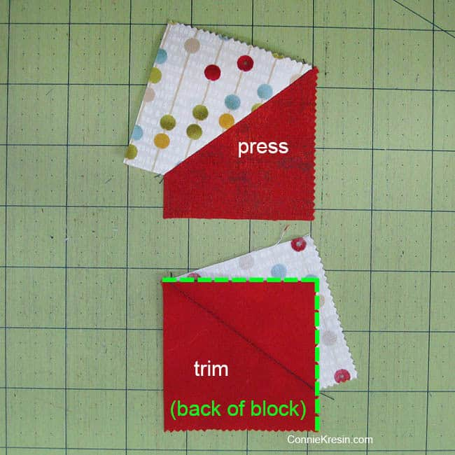 Swirly pinwheel quilt tutorial directions press and trim
