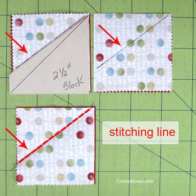 Swirly pinwheel quilt tutorial directions to cut the template from charm square cardboard cutting template stitching on line