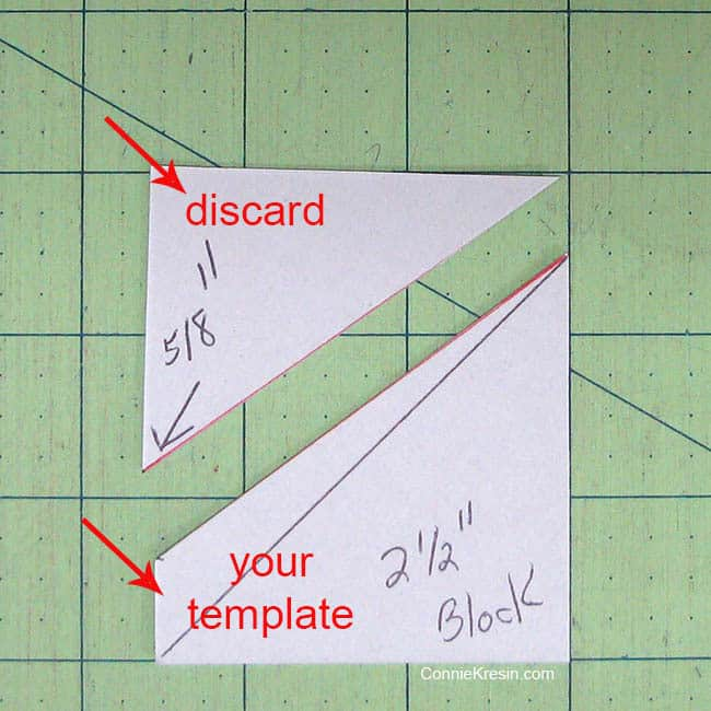 Swirly pinwheel quilt tutorial directions to cut the template from charm square cardboard cutting template