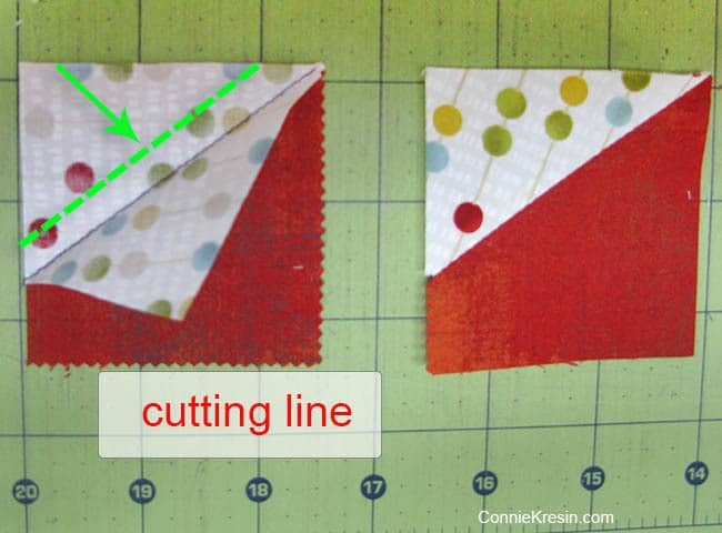 Swirly pinwheel quilt tutorial directions press and trim one fourth inch
